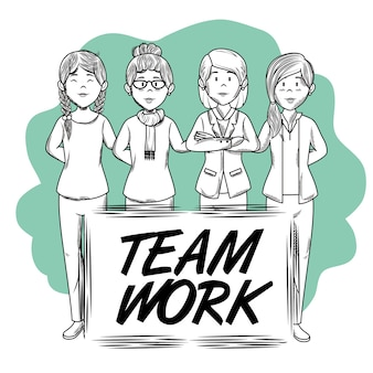 Hand drawn uncolored women and teamwork sign over green and white background vector illustration