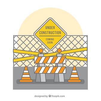 手は建設の背景の下に描か