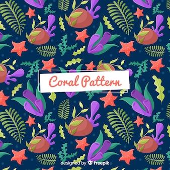 Hand drawn underwater coral pattern