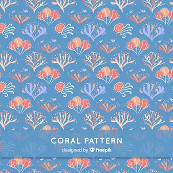 Hand drawn underwater coral pattern