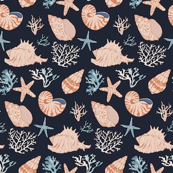 Hand drawn underwater ocean life. corals and seashells seamless pattern.