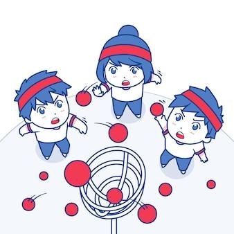 Нарисованная рукой иллюстрация ундоукай с детьми