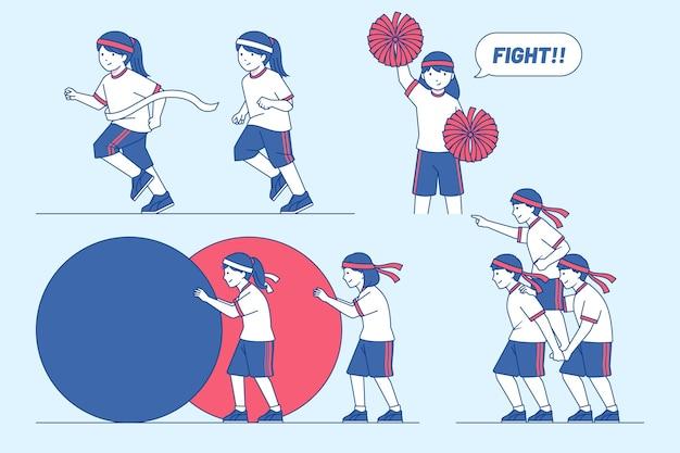 手描きの運動会イラスト