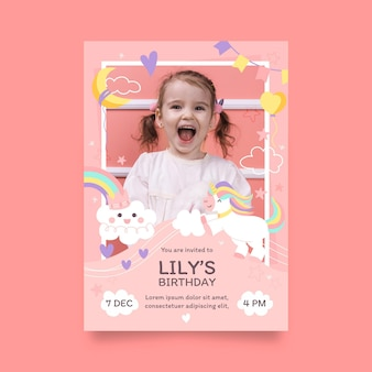 Hand drawn unicorn birthday invitation template with photo