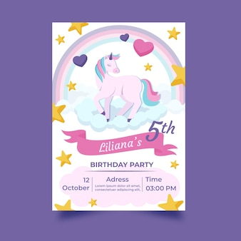 Hand drawn unicorn birthday invitation template