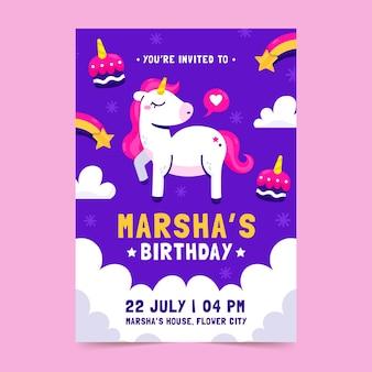 Modello di invito compleanno unicorno disegnato a mano