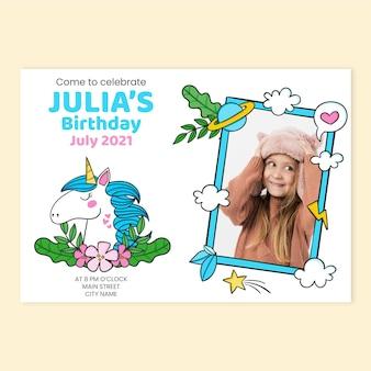 写真テンプレートと手描きのユニコーンの誕生日の招待状