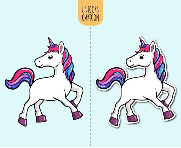 Hand drawn unicorn cartoon illustration with sticker design option