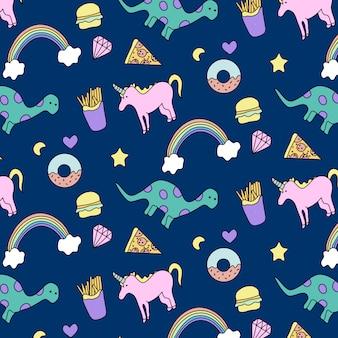 Hand drawn unicorn & dinosaur pattern