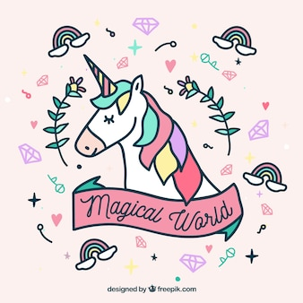 Hand drawn unicorn face and cute elements