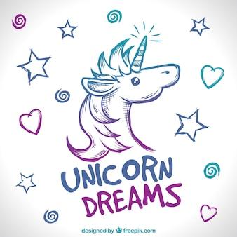 Hand drawn unicorn face