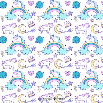 Hand drawn unicorn fantasy pattern