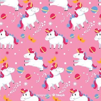 Hand drawn unicorn fantasy pattern