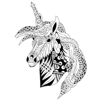 Hand drawn of unicorn head in zentangle style