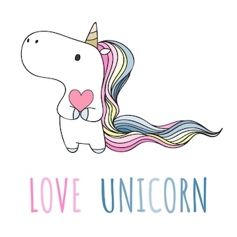 Hand drawn unicorn holding heart in doodle style.