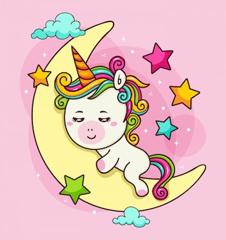 Hand drawn unicorn hugging the moon in the sky