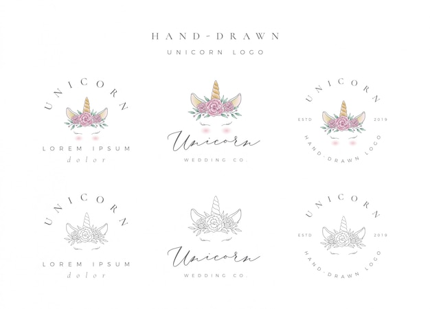 Hand drawn unicorn logo