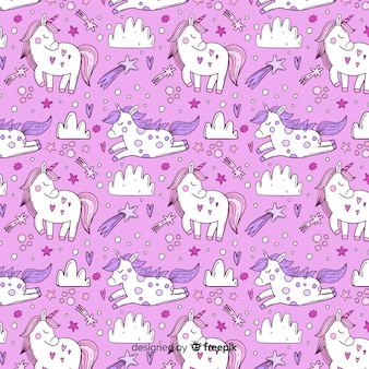Hand drawn unicorn pattern background