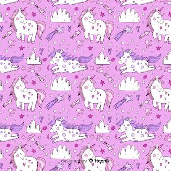 Hand drawn unicorn pattern background