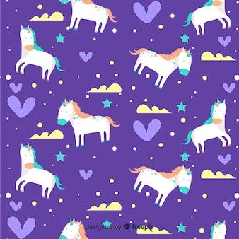 Hand drawn unicorn pattern