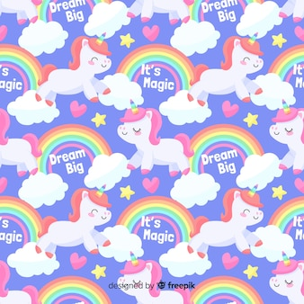 Hand drawn unicorn pattern