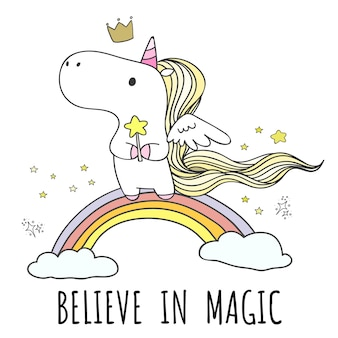 Hand drawn unicorn on the rainbow in doodle style.