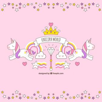 Hand drawn unicorn with cute elemnts