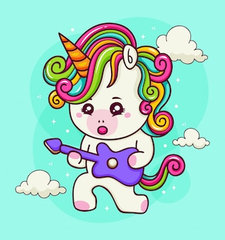 Hand drawn unicorn with electric guitar in the sky
