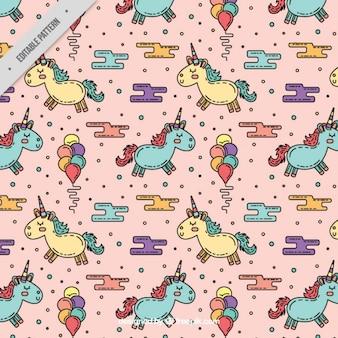 Disegnato a mano modello unicorni con palloncini