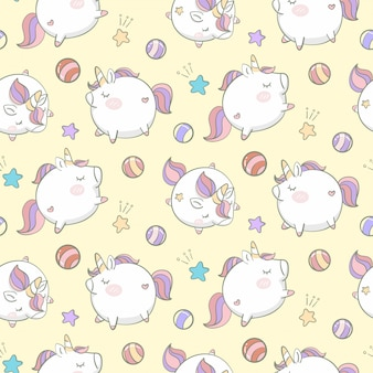 Hand drawn unicorns seamless pattern background