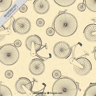 Hand drawn unicycle and bicycle background