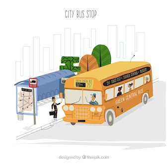 Hand drawn urban bus and bus stop