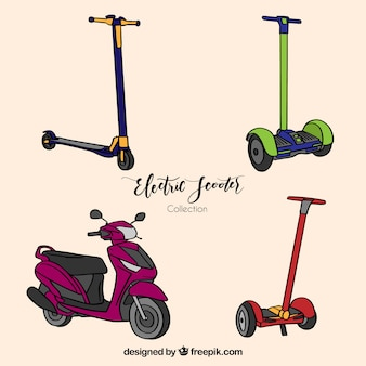 Hand drawn urban scooters with fun style