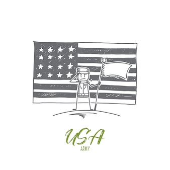 Hand drawn usa army concept sketch