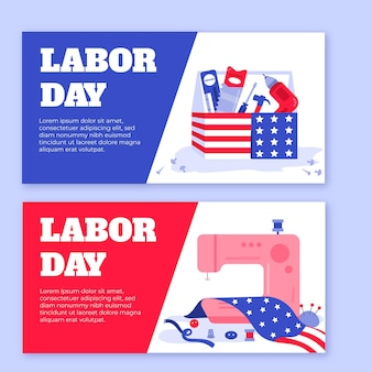 Hand drawn usa labor day banners template