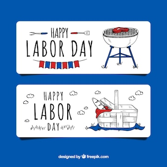 Hand drawn usa labor day banners