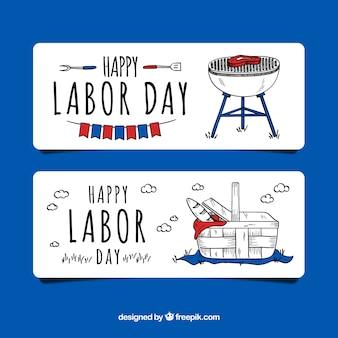 Hand drawn usa labor day banners