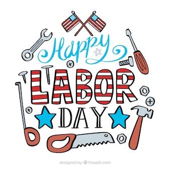 手描きのアメリカ労働日組成