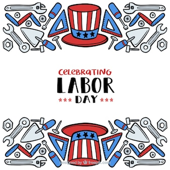 Hand drawn usa labor day composition