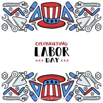 손으로 그린 미국 노동절 구성