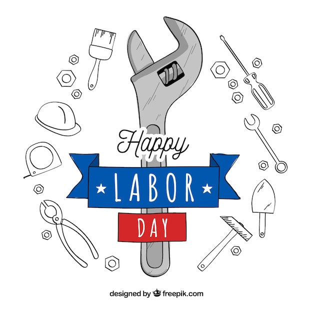 Hand drawn usa labor day concept