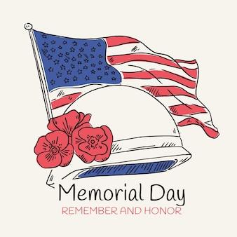 Hand drawn usa memorial day illustration