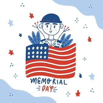 Illustrazione disegnata a mano del memorial day di usa