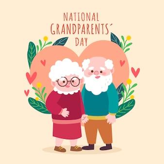 손으로 그린 미국 국가 조부모의 날 개념
