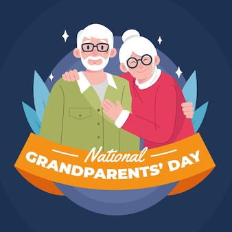 Hand drawn usa national grandparents day concept