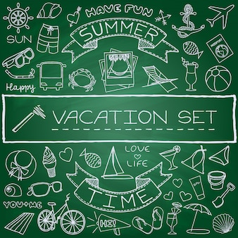 Hand drawn vacation icons set