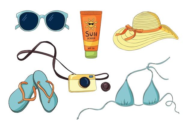 손으로 그린 휴가 항목 컬렉션입니다. 선글라스 비키니, 플립 플롭, 사진 카메라, 자외선 차단제 튜브, 여성용 모자. 로고, 스티커, 지문, 라벨 디자인을 위한 여름 휴가 세트. 프리미엄 벡터