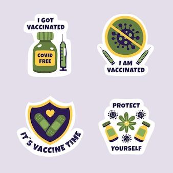 手描きの予防接種キャンペーンバッジコレクション