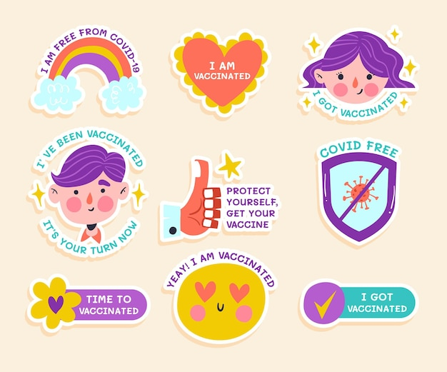 Hand drawn vaccination campaign badge collection