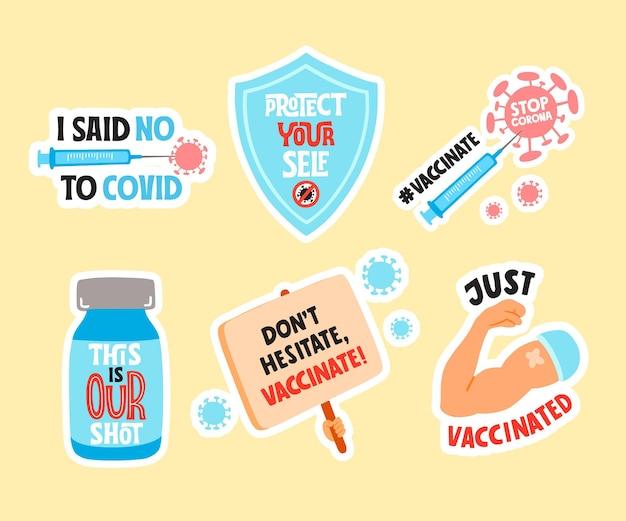 손으로 그린 예방 접종 캠페인 배지 컬렉션
